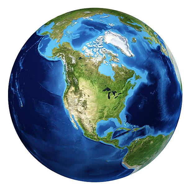 earth globe, realistic 3d rendering. north america view. - north america stock photos and pictures