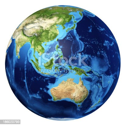 186019678istockphoto Earth globe realistic 3D rendering. Oceania view. At white background. 186020793