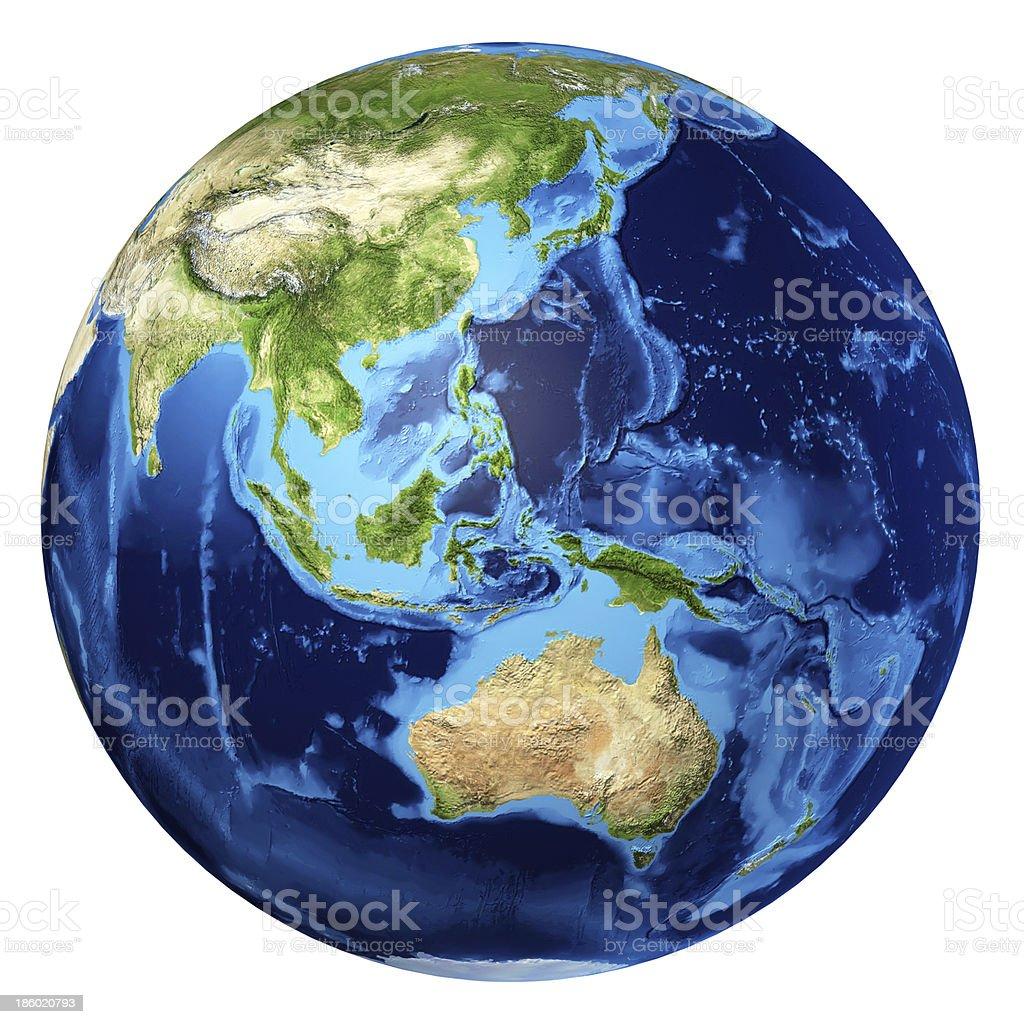 Earth globe realista 3D imagen. Oceanía vista. En fondo blanco. - foto de stock