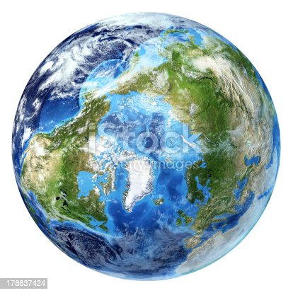 186019678istockphoto Earth globe, realistic 3D rendering, with some clouds. Arctic view. 178837424