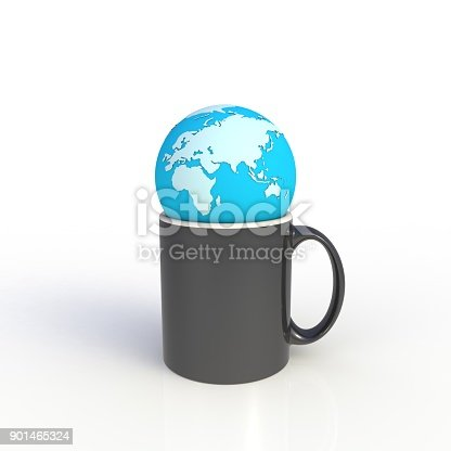 904387004 istock photo Earth globe with black coffee cup isolated on white background. Mock up Template for application design. Exhibition equipment. Set template for the placement of the logo. 3D rendering. 901465324