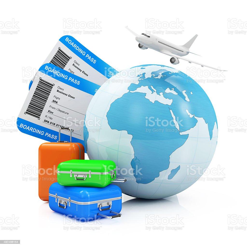 Erde Globus mit Boarding-Pass-Tickets, Gepäck und Passagier Flugzeug – Foto