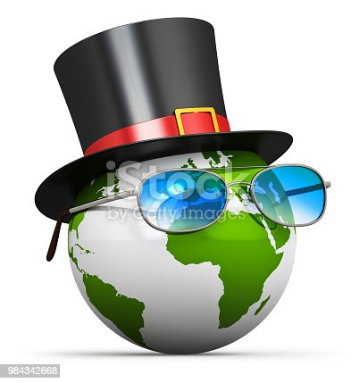 Creative abstract 3D render illustration of the Earth globe planet world map with black silk cylinder top hat and blue eyeglasses, glasses or sunglasses isolated on white background