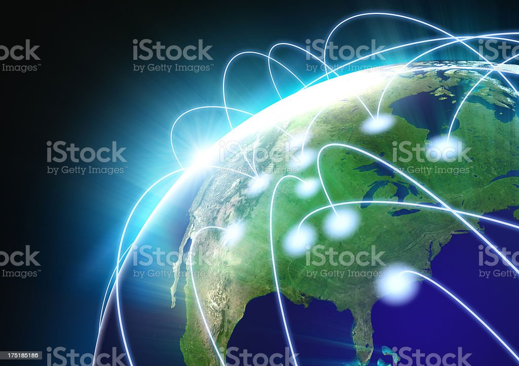 Earth Globe with flight paths/connections stock photo