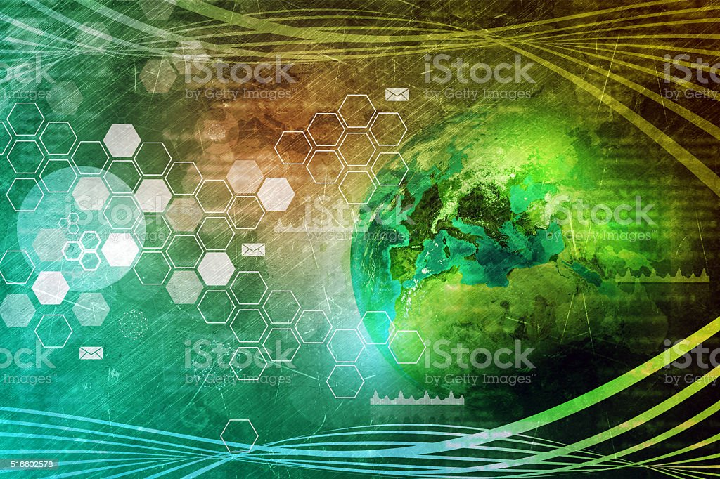 Earth Globe With Graphical Charts Stock Photo - Download