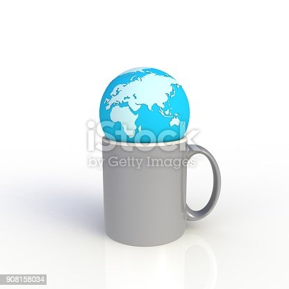 904387004 istock photo Earth globe with gray coffee cup isolated on white background. Mock up Template for application design. Exhibition equipment. Set template for the placement of the logo. 3D rendering. 908158034
