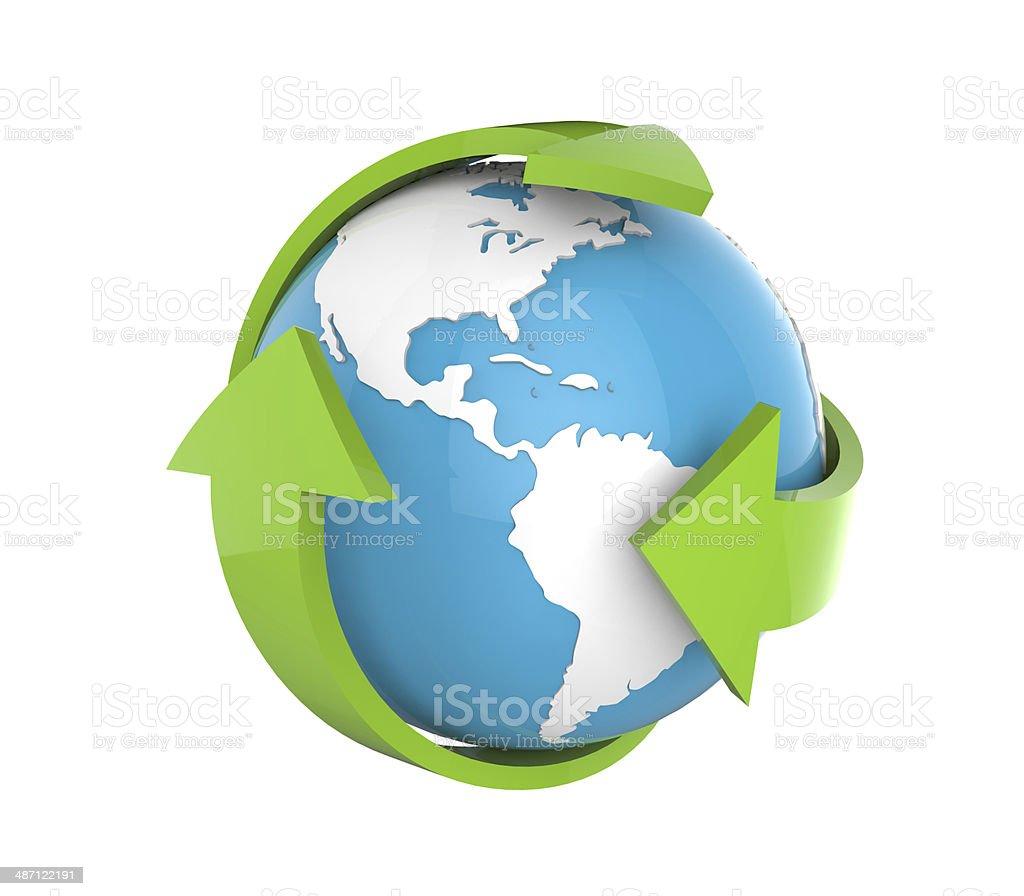 Earth Globe with Green Arrows stock photo