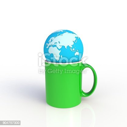 904387004 istock photo Earth globe with green coffee cup isolated on white background. Mock up Template for application design. Exhibition equipment. Set template for the placement of the logo. 3D rendering. 904757300