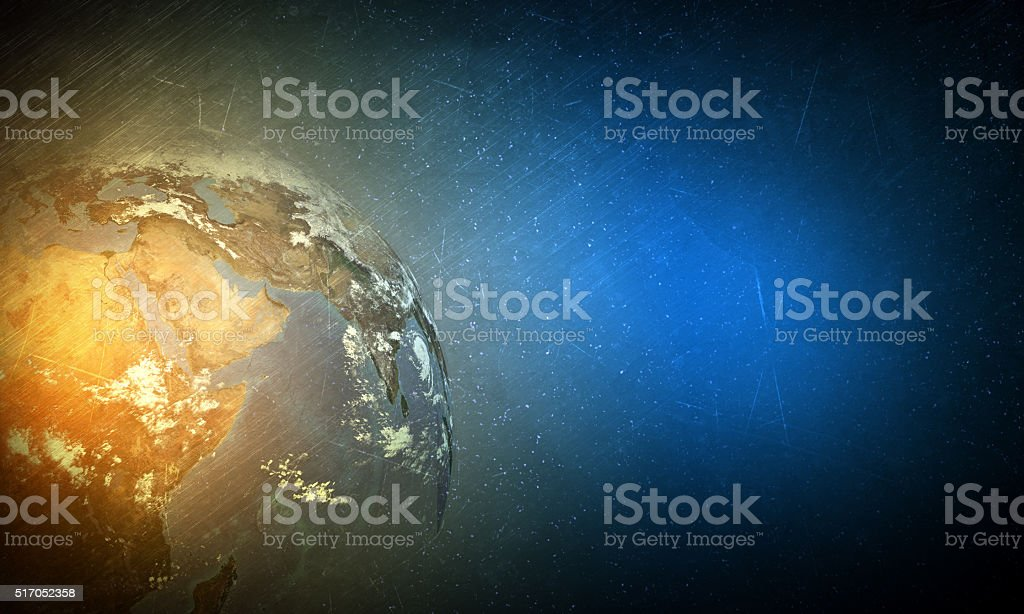 Earth globe with light stock photo