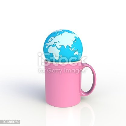 904387004 istock photo Earth globe with pink coffee cup isolated on white background. Mock up Template for application design. Exhibition equipment. Set template for the placement of the logo. 3D rendering. 904389250