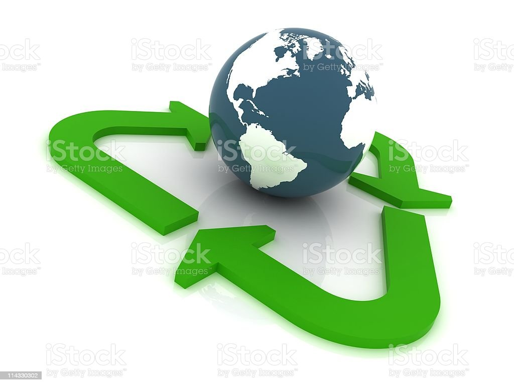 Earth Globe with Recycle Concept royalty-free stock photo