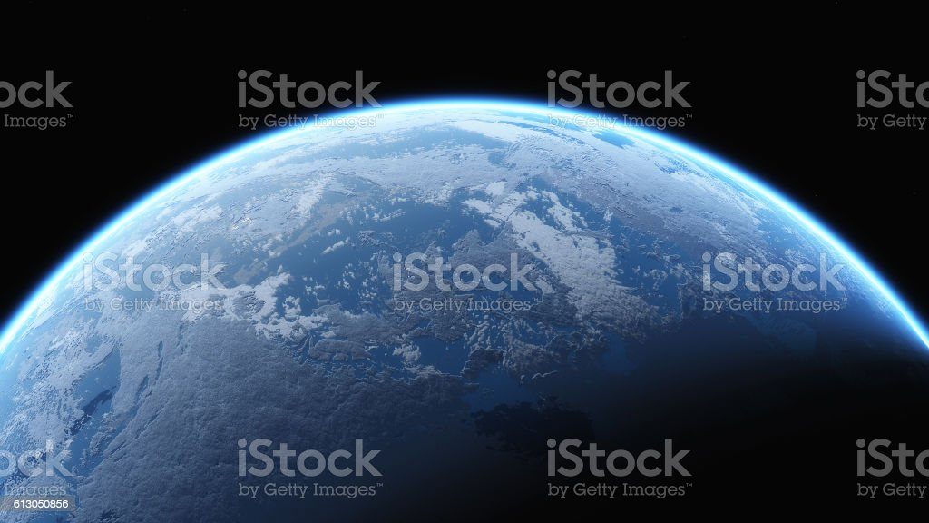 Earth glow in space stock photo