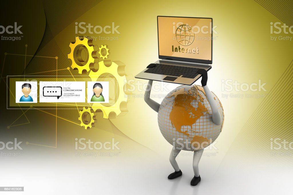 Earth holding laptop in hand royalty-free stock photo