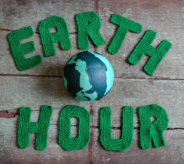 Earth hour message, worldwide stock photo