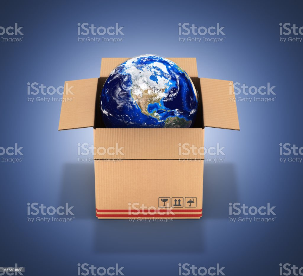 Earth in a cardboard box on dark blue gradient background 3d royalty-free stock photo