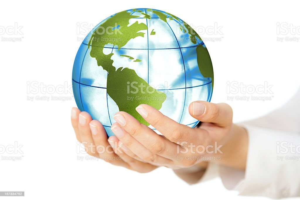 Earth in doctor's hands royalty-free stock photo