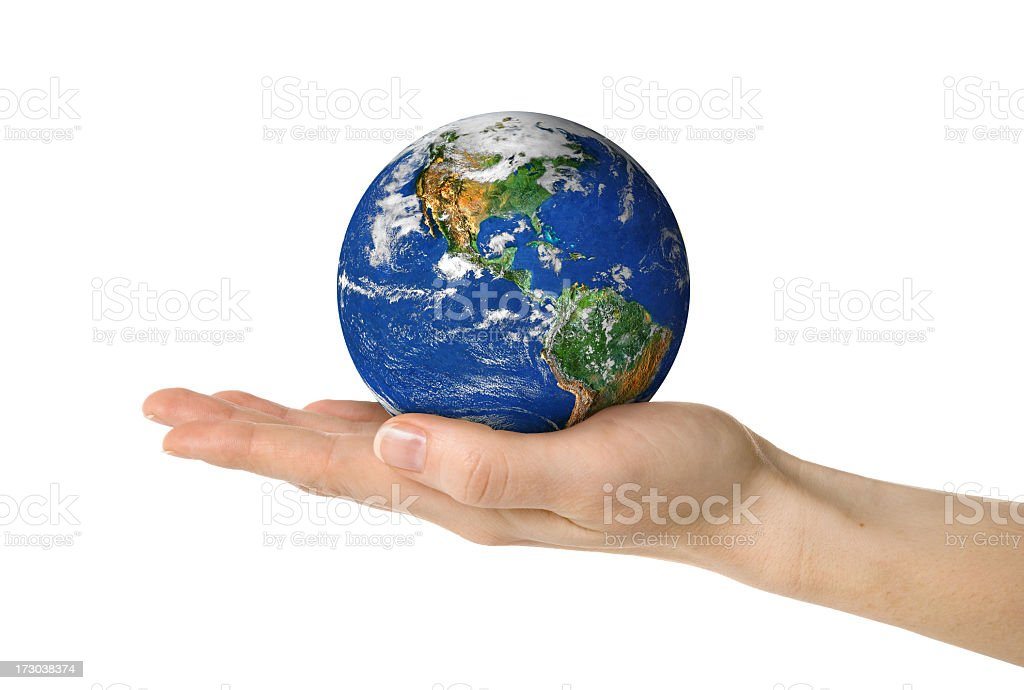 Earth in female hand isolated on white royalty-free stock photo