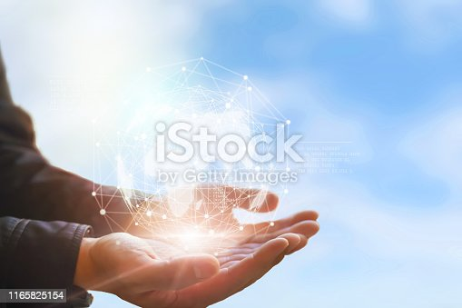 672310452istockphoto Earth in hands. Global planet on hand. environment concept 1165825154