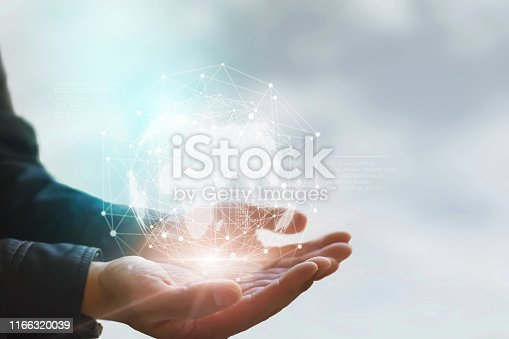 672310452istockphoto Earth in hands. Global planet on hand. environment concept 1166320039