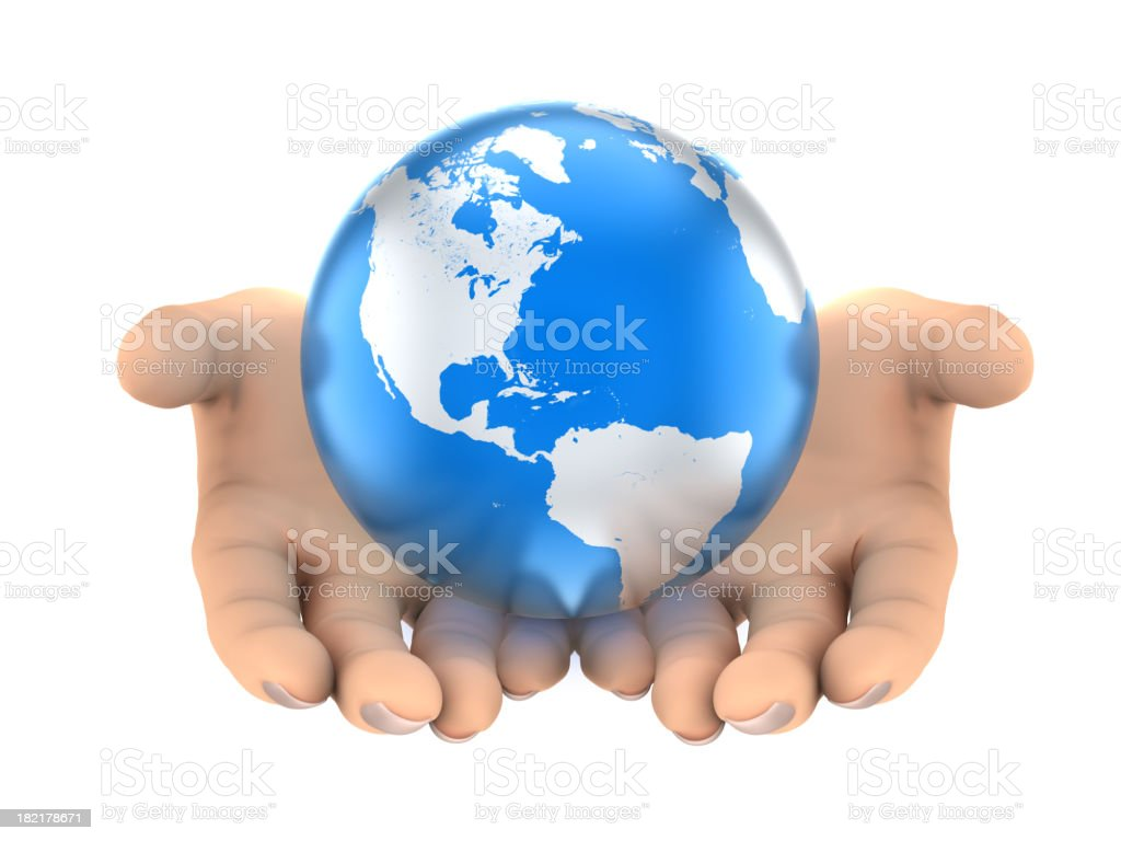 Earth in hands - isolated on white with clipping path royalty-free stock photo