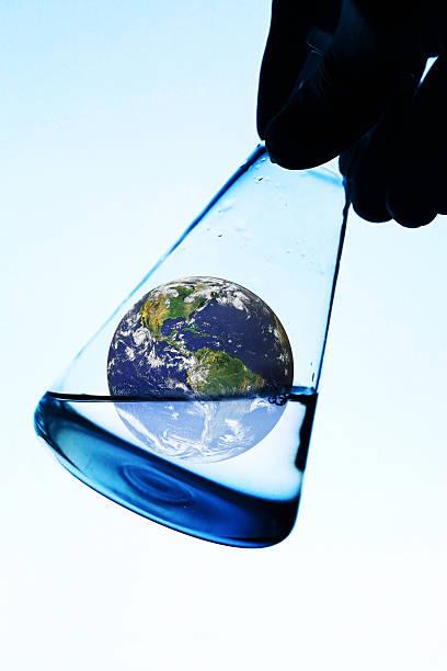 Earth in laboratory glass. stock photo