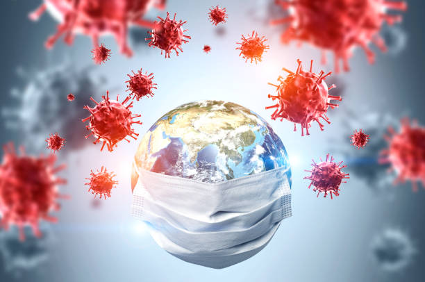 Earth in mask, coronavirus pandemic concept stock photo