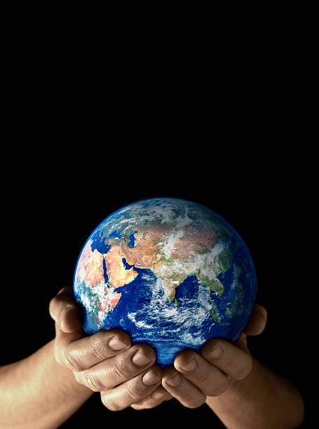 Earth in my hands - East stock photo