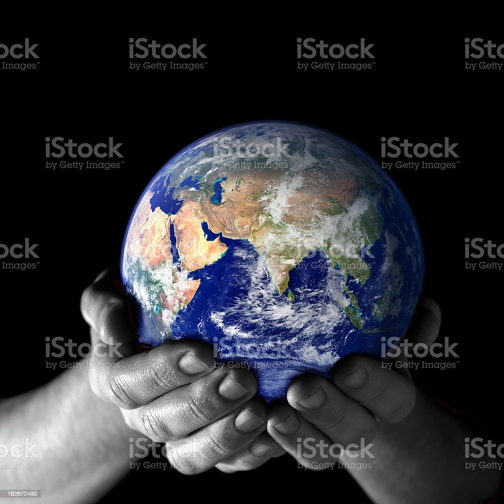 Earth in my hands - East view stock photo