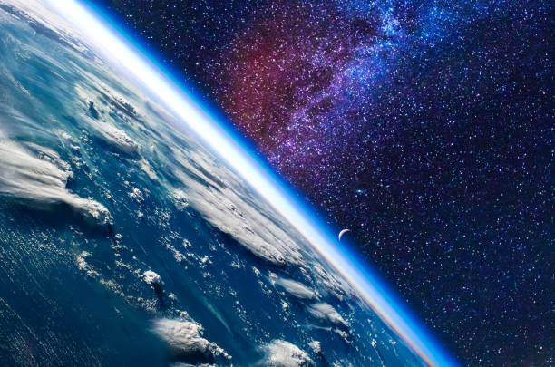 Earth in space. Elements of this image furnished by NASA. stock photo