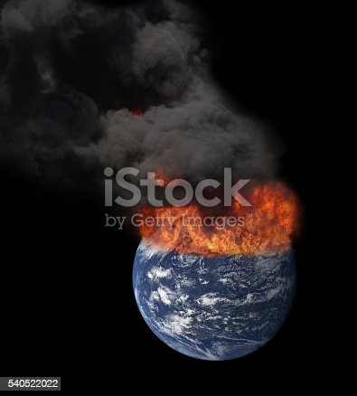 istock Earth in space engulfed in flames 540522022