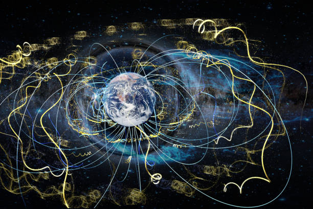 Earth in space enmeshed network line of astrology data flow. Abstract esoteric concept information fields.  Elements of this image furnished by NASA.