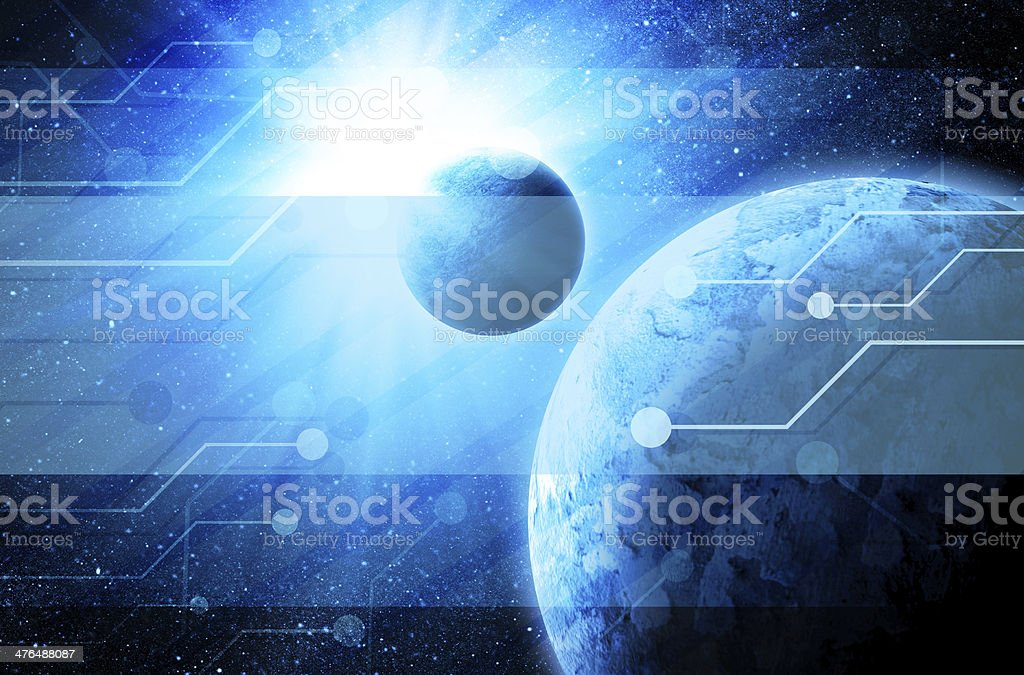 earth in space with technology elements royalty-free stock photo