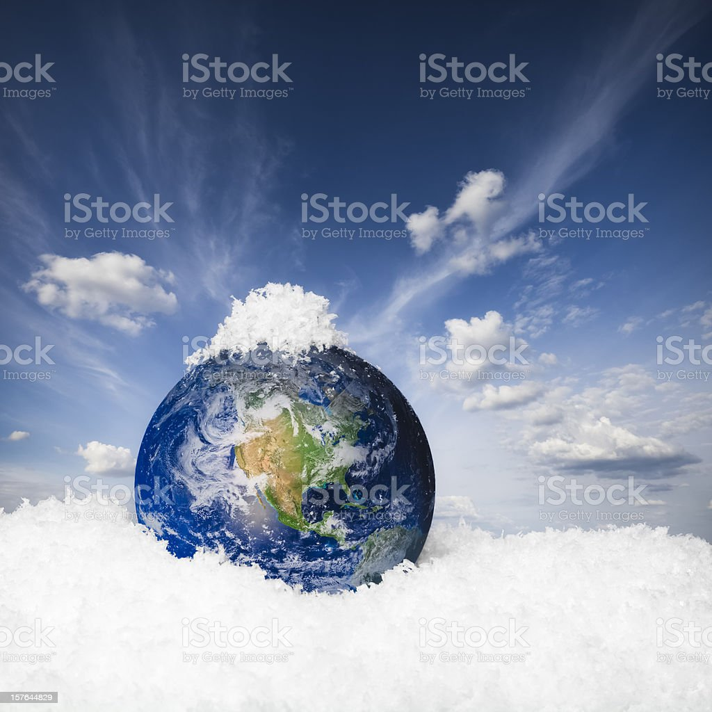Earth in the snow stock photo