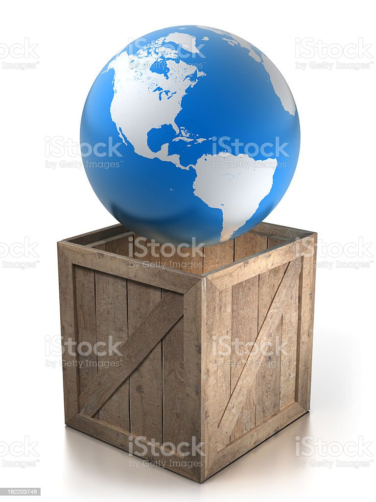 Earth in wooden crate - isolated with Clipping Path royalty-free stock photo