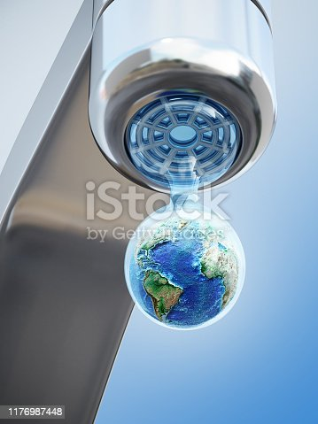 Earth inside the dripping water drop on blue background. Adobe Illustrator and Photoshop used for world texture map modifications. Original texture link: https://eoimages.gsfc.nasa.gov/images/imagerecords/73000/73580/world.topo.bathy.200401.3x5400x2700.jpg