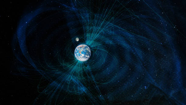 Earth magnetic fields, elements of this image furnished by NASA. stock photo