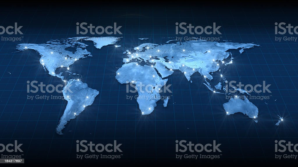 Earth Map City Lights Top view stock photo