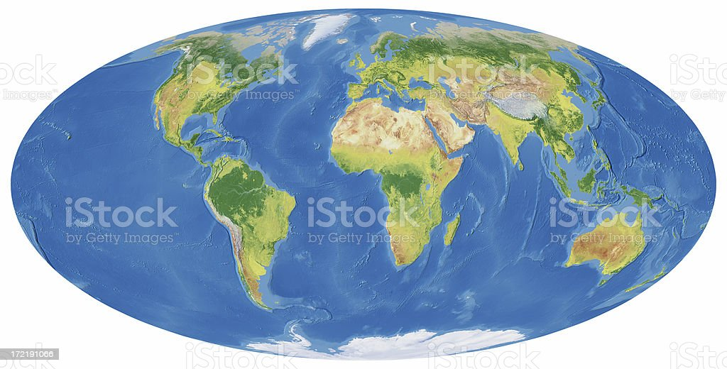 Earth Map in Mollweide Projection royalty-free stock photo