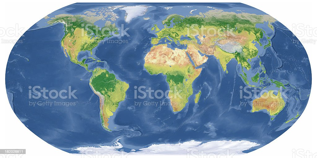 Earth Map in Robinson Projection stock photo