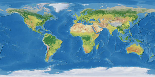 earth map - topography stock photos and pictures