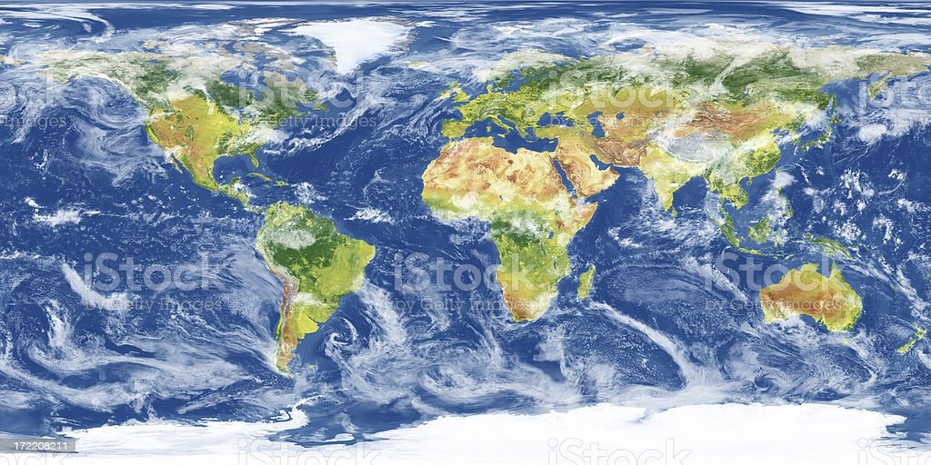 Earth Map with Clouds (XXXL) stock photo