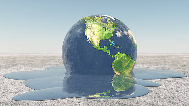 Earth melting into water stock photo