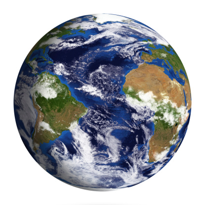 186019678 istock photo Earth Model: Atlantic Ocean View isolated on white 180703616