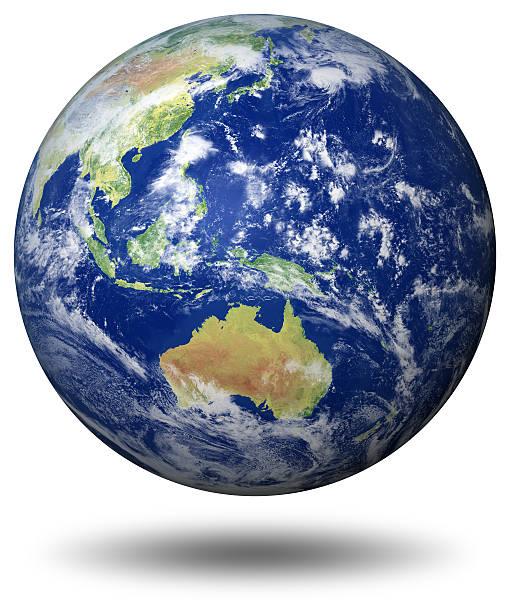 アースモデル: オーストラリアの眺め - 地球 日本 ストックフォトと画像