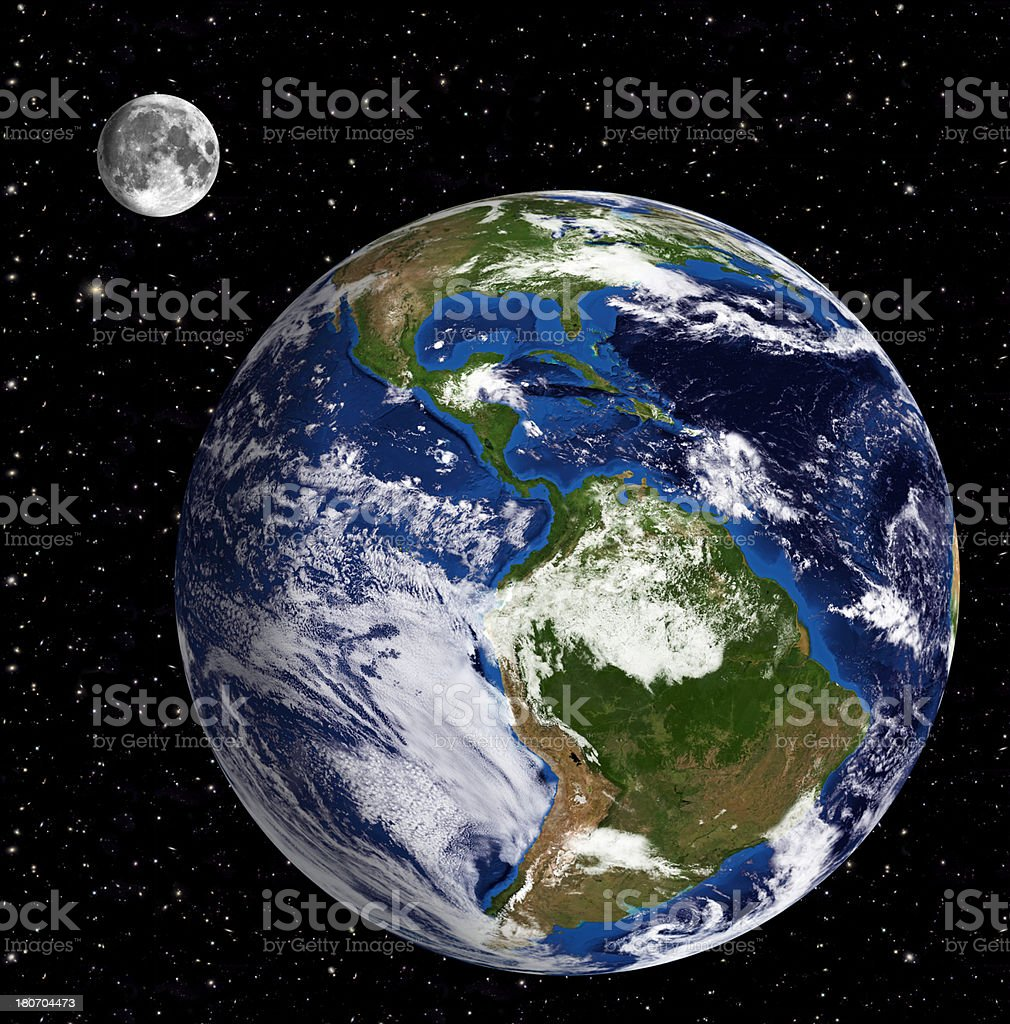 Earth Model: South America View  Moon and stars in backgroun royalty-free stock photo