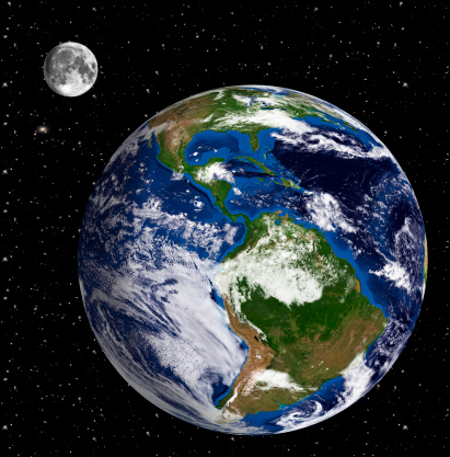 186019678 istock photo Earth Model: South America View  Moon and stars in backgroun 180704473