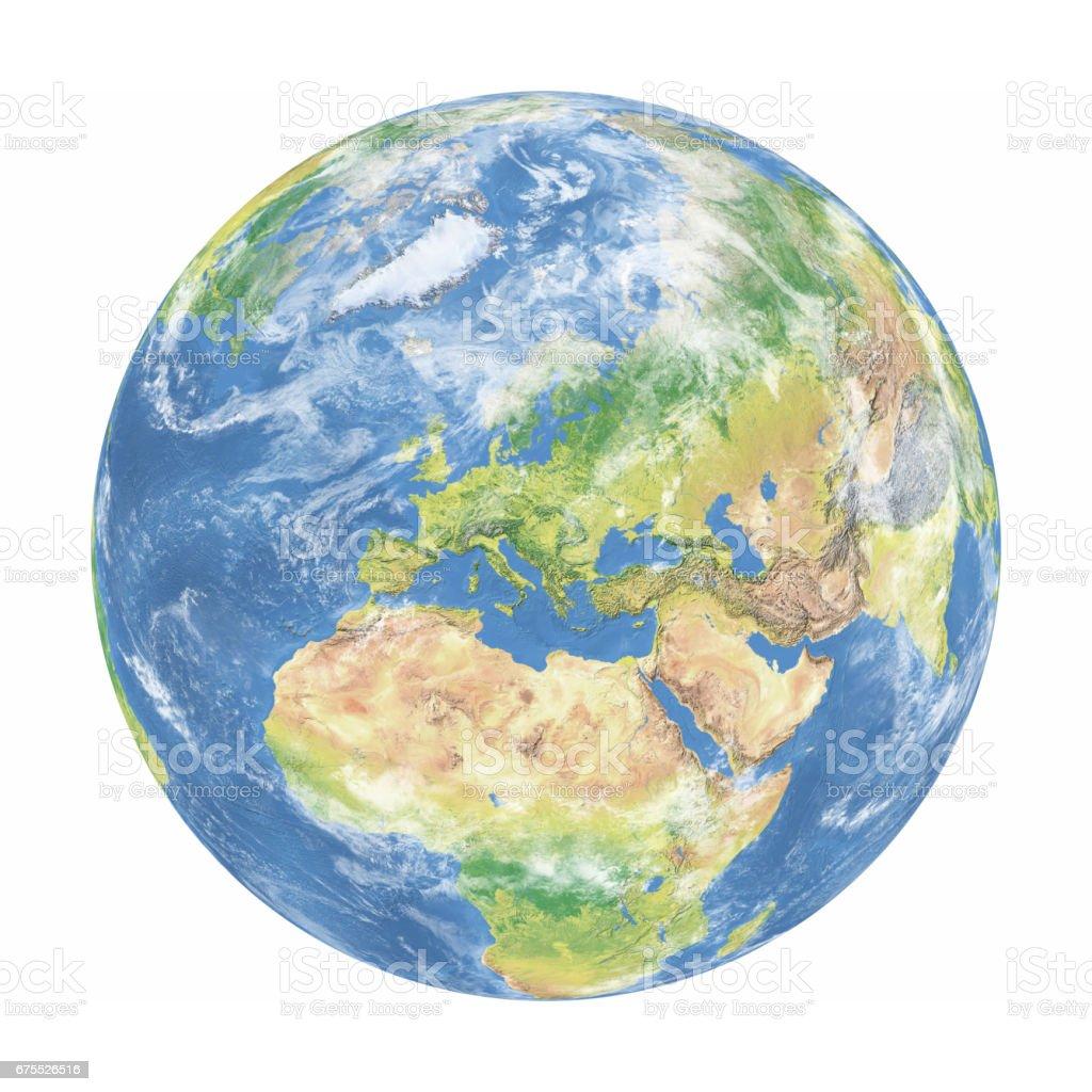 Modelo de la tierra con las nubes: Europa ver - foto de stock