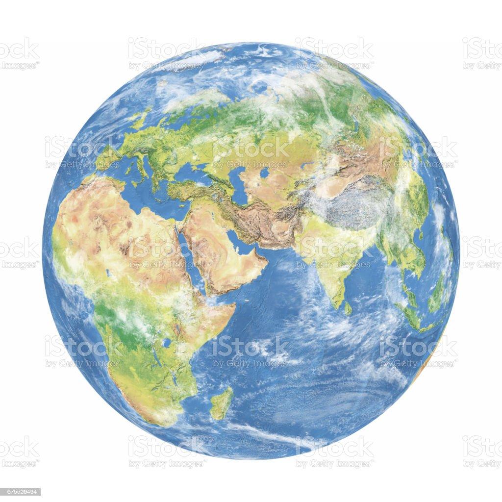 Modelo de la tierra con las nubes: Medio Oriente vista - foto de stock