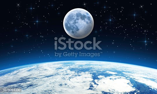 Blue Moon from the glowing Earth with stars - Outer space, space scene. Elements of this image furnished by NASA.