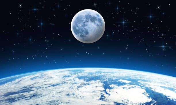 earth moon stars - outer space scene - starry sky - moon stock pictures, royalty-free photos & images